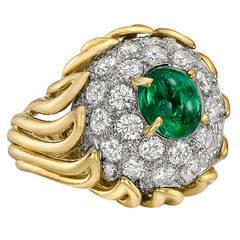 Boucheron Emerald Diamond Dome Ring