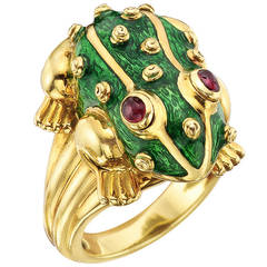 David Webb Green Enamel Gold Frog Ring