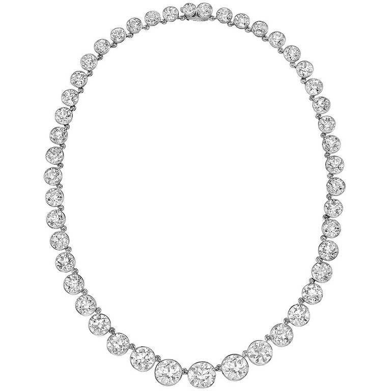 Tiffany Turn-of-the-Century Diamond Riviere Necklace For Sale