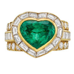 Van Cleef & Arpels Heart-Shaped Emerald Diamond Dress Ring