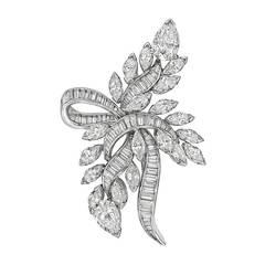 1950s Diamond Platinum Spray Ribbon Brooch