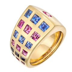 Chanel Sapphire Gold Byzantine Band Ring