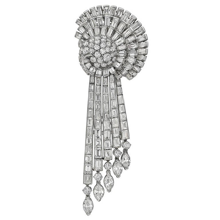 Circular and Baguette-Cut Diamond Brooch For Sale