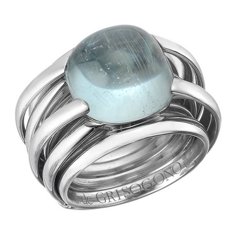 de Grisogono Aquamarine White Gold Allegra Ring at 1stdibs
