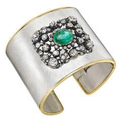 Gem-Set Silver Gold Cuff Bracelet