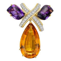 Tiffany & Co. Paloma Picasso Citrine Amethyst Diamond Brooch