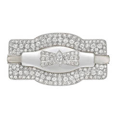 Antique French Rock Crystal Diamond Platinum Brooch