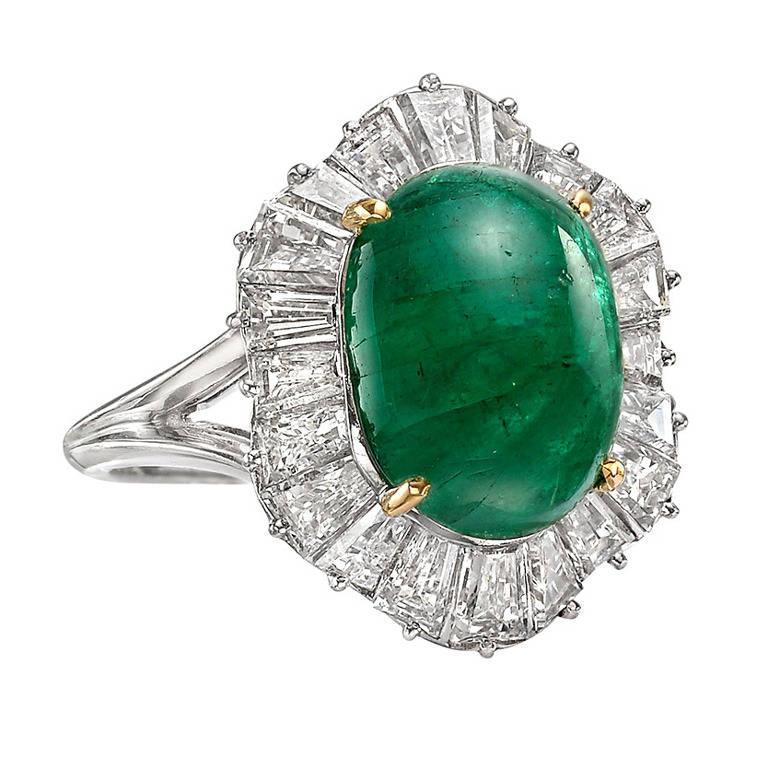 cabochon emerald platinum ballerina ring for sale