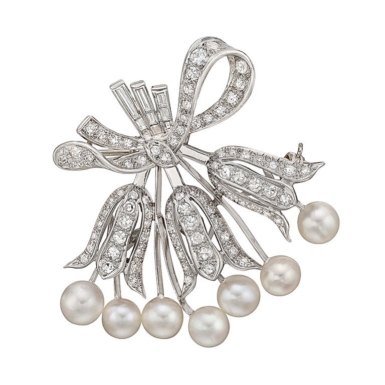 Pearl Diamond Platinum Lily of the Valley Pin 1