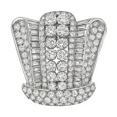 French Diamond Platinum Crown Brooch