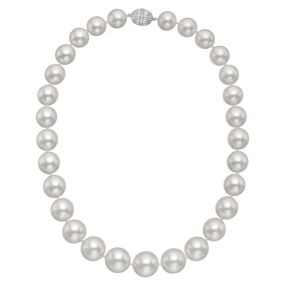 South Sea Pearl Necklace with Pave Diamond Clasp For Sale
