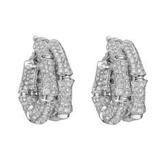 Cartier Pavé Diamond 'Bamboo' Hoop Earclips