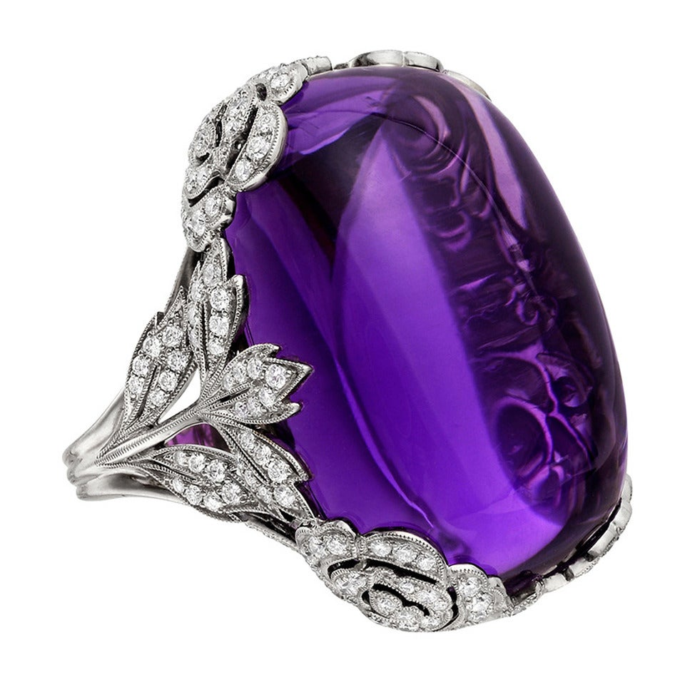 86 Carat Cabochon Amethyst Diamond White Gold Ring