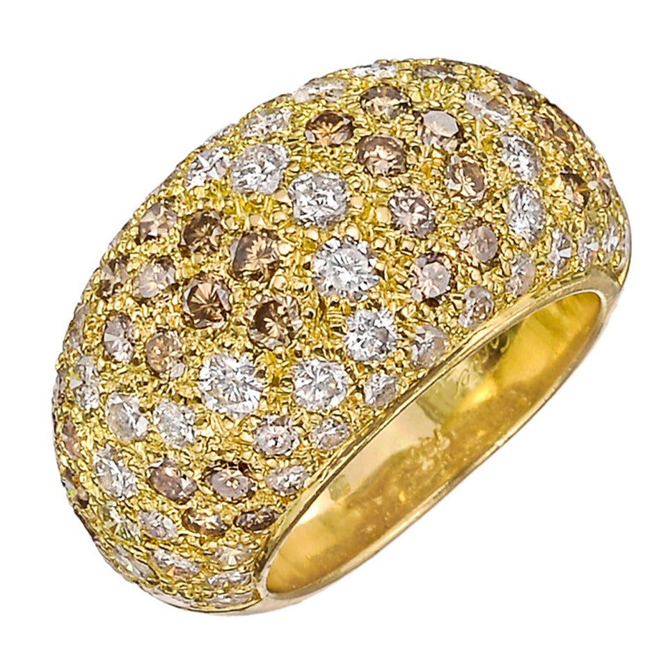 Dome Shaped Bands: Cartier Pave Brown And White Diamond Dome Ring For Sale At