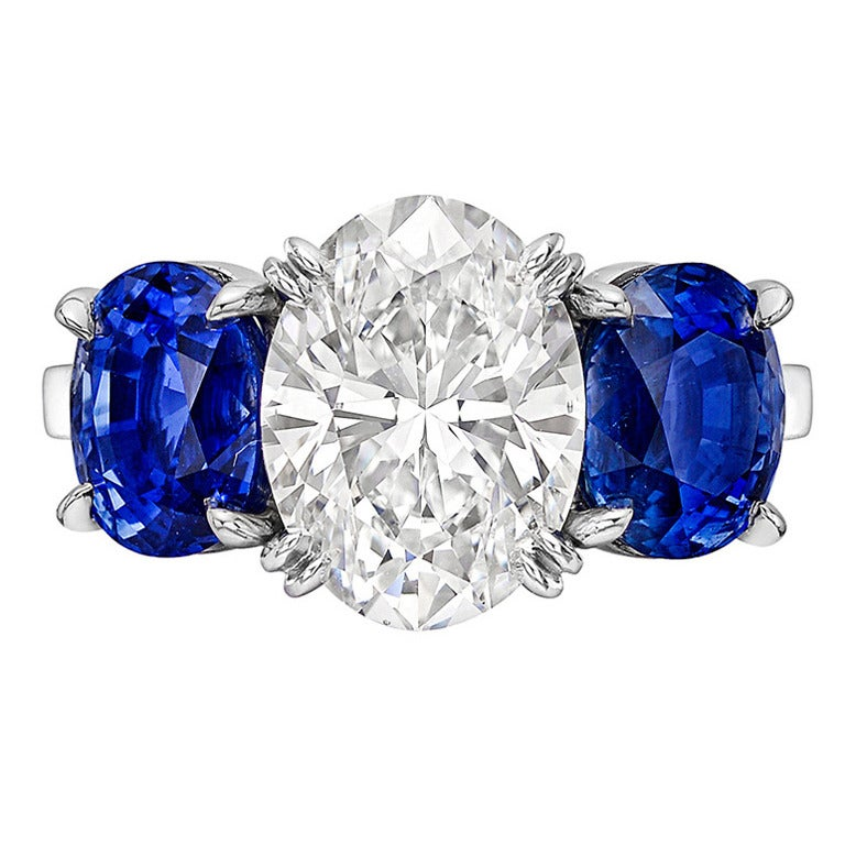 3 10 Carat Oval Cut Sapphire Diamond Engagement Ring at 1stdibs