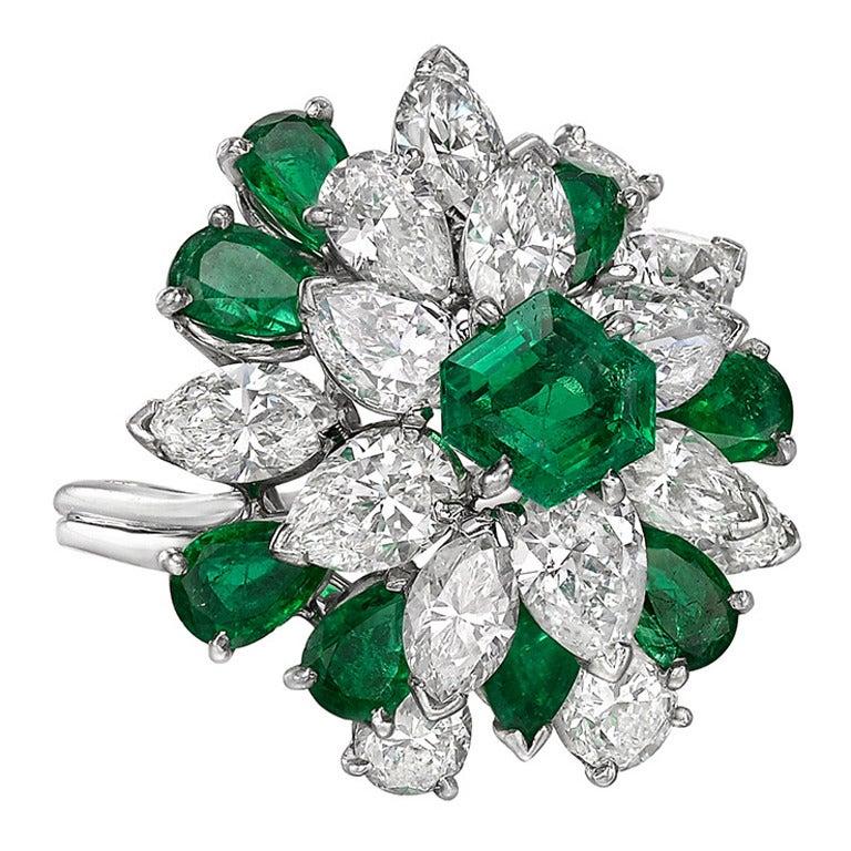 Oscar Heyman Emerald Diamond Cluster Ring 1