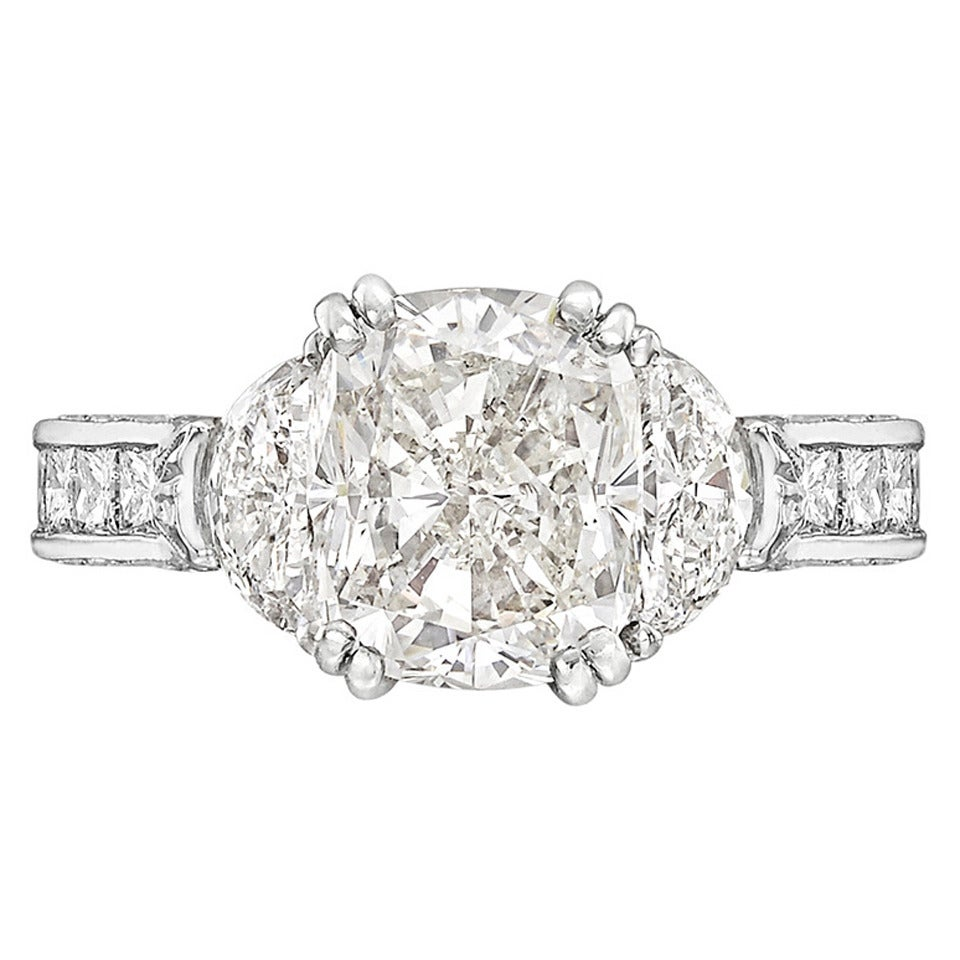 3 29 Carat Cushion Cut Diamond Engagement Ring at 1stdibs