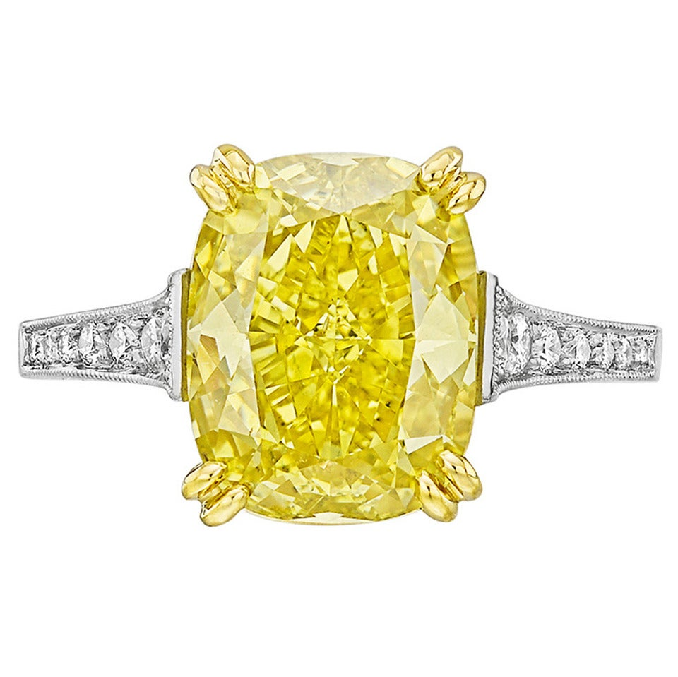 Betteridge 5.08 Carat Fancy Intense Yellow Diamond Engagement Ring 1