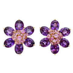 Van Cleef & Arpels Amethyst Pink Sapphire Hawaii Flower Earclips