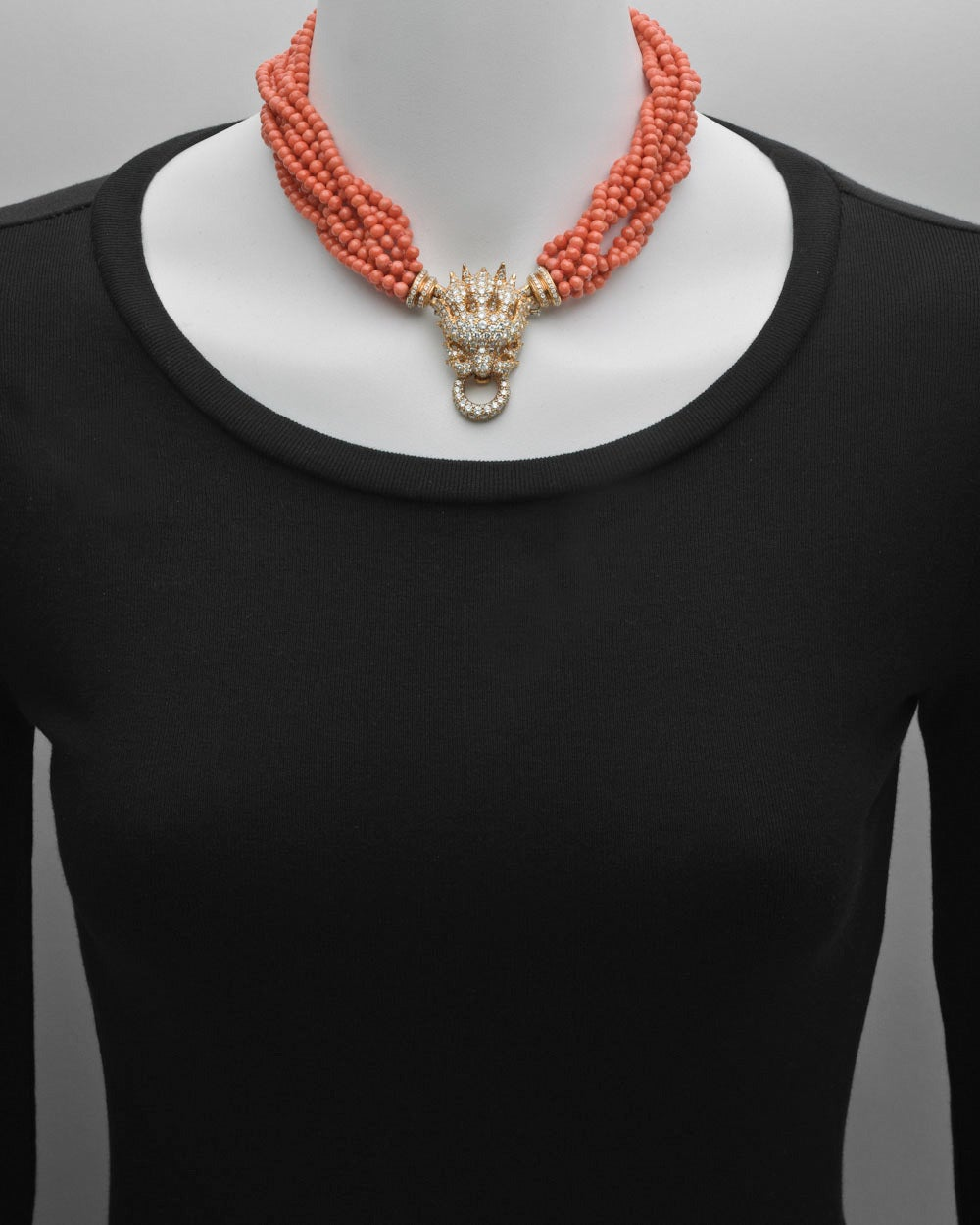 Hemmerle Coral Diamond Gold Lion Head Necklace 2