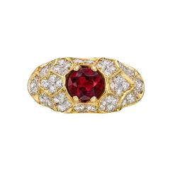 Ruby Diamond Two Color Gold Domed Dress Ring