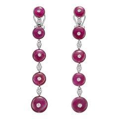 Repossi Ruby Diamond Gold Long Drop Earrings