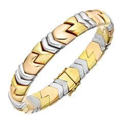 Bulgari Parentesi Three Color Gold Cuff Bracelet