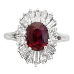 Ruby Diamond Platinum Ballerina Ring