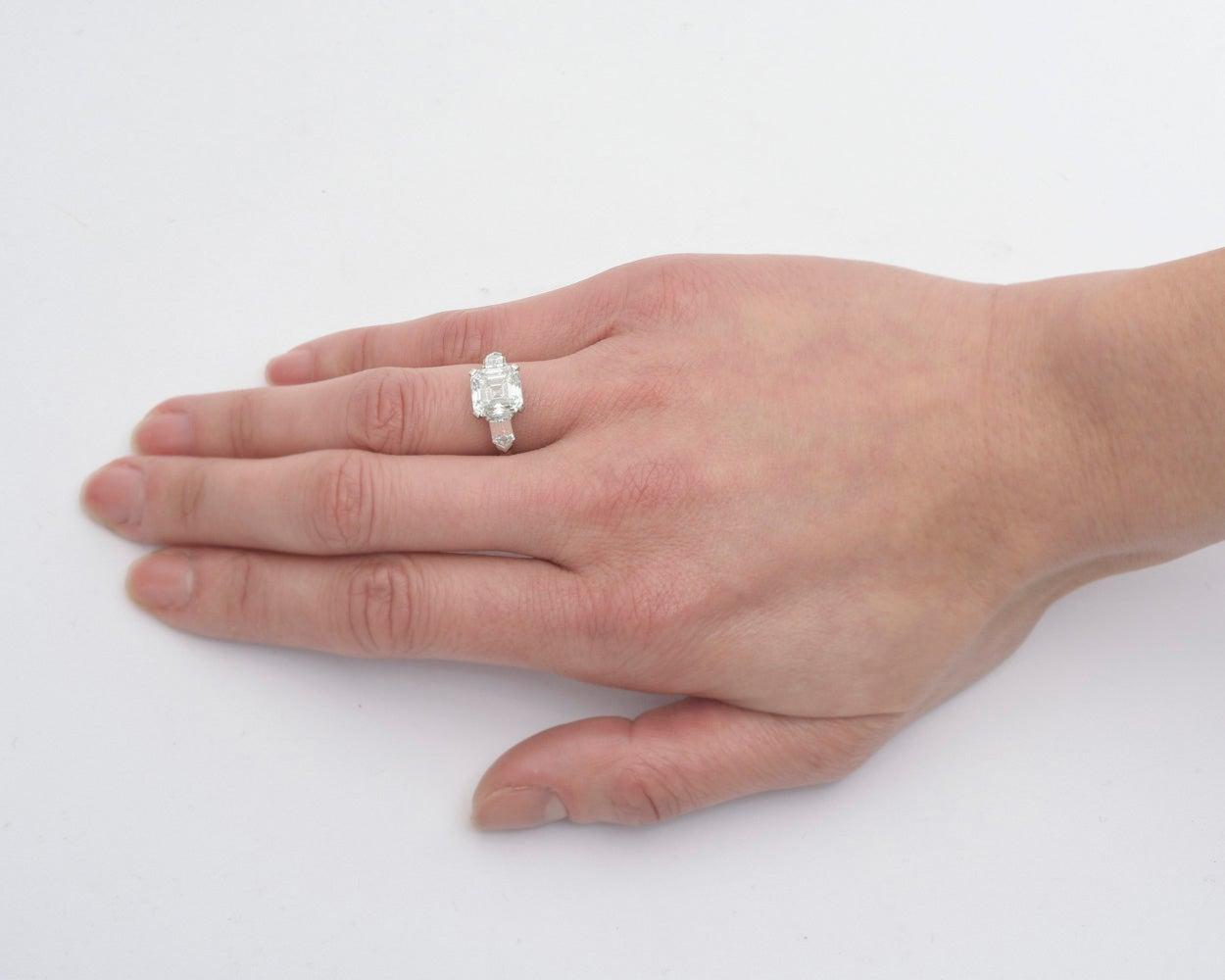 Betteridge 3.51 Carat Asscher-Cut Diamond Engagement Ring at 1stdibs