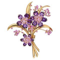 Van Cleef & Arpels Amethyst Pink Sapphire Hawaii Bouquet Brooch