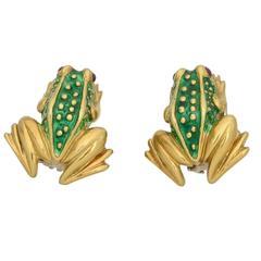Boris Lebeau Green Enamel Gold Frog Earclips