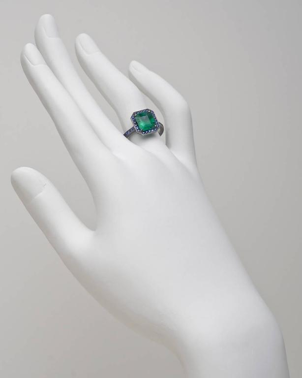 Manuel Bouvier 2 45 Carat Colombian Emerald Sapphire Gold Ring at
