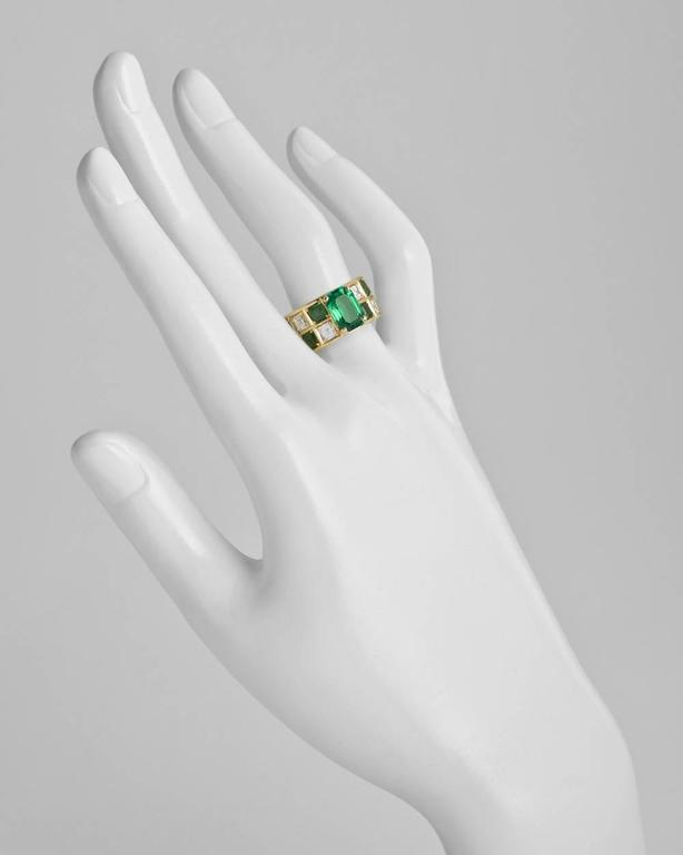 Colombian Emerald Diamond Gold Wide Band Ring In As New Condition For Sale In Greenwich, CT