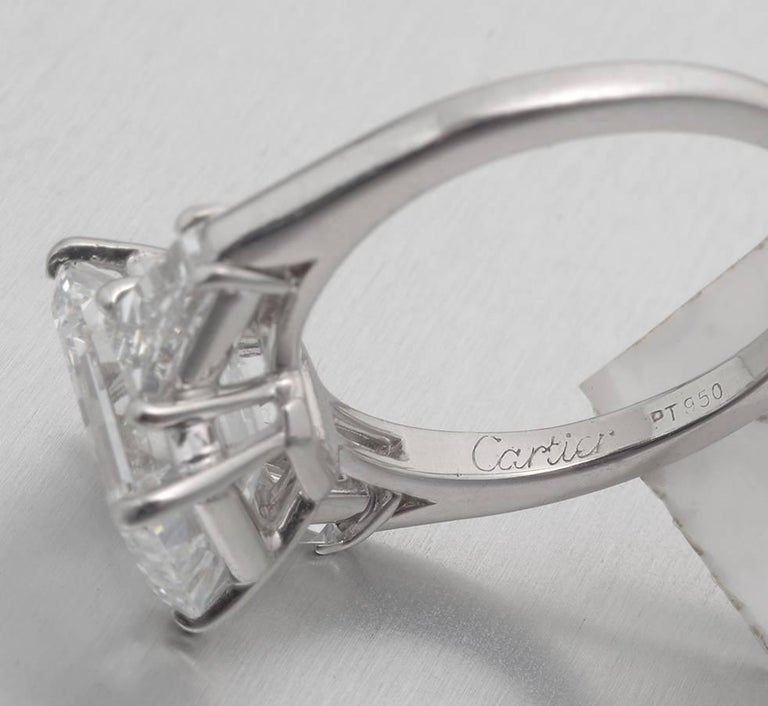 cartier 3 06 carat emerald cut engagement ring at