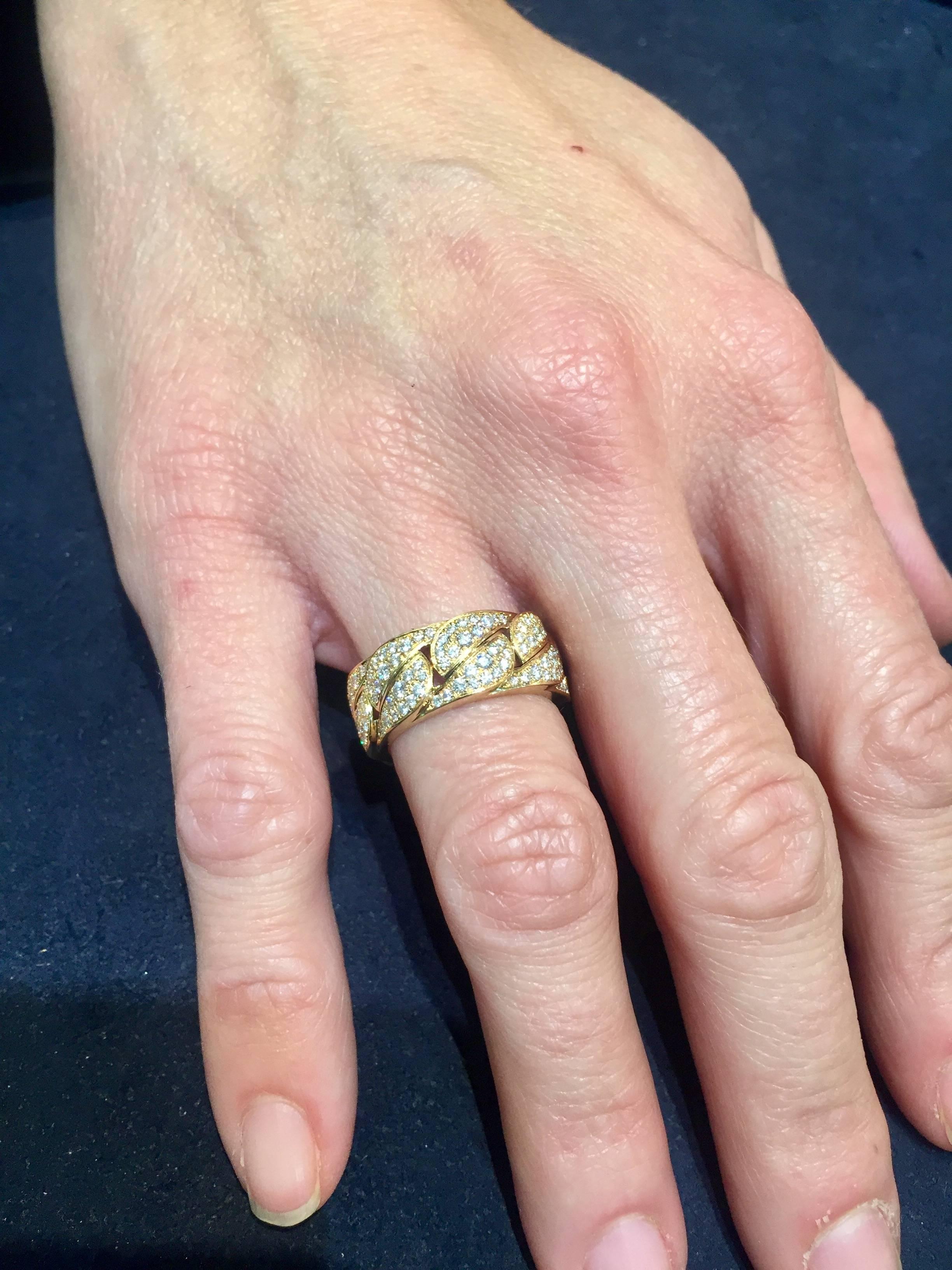 Cartier Diamond Yellow Gold La Dona Band Ring at 1stdibs