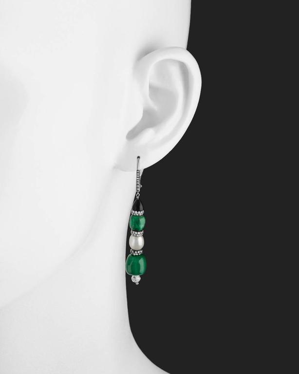 Emerald Natural Pearl Diamond Drop Earrings 2