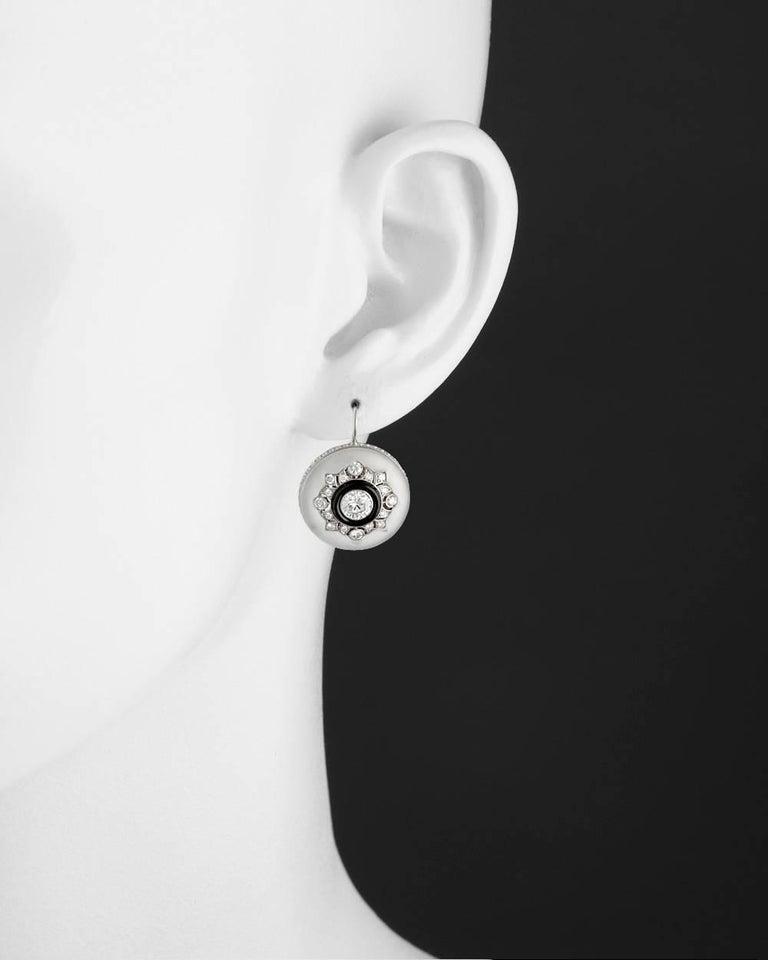 Rock Crystal Diamond Black Onyx Drop Earrings 2