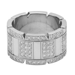 Cartier White Gold Diamond Tank Francaise Band Ring