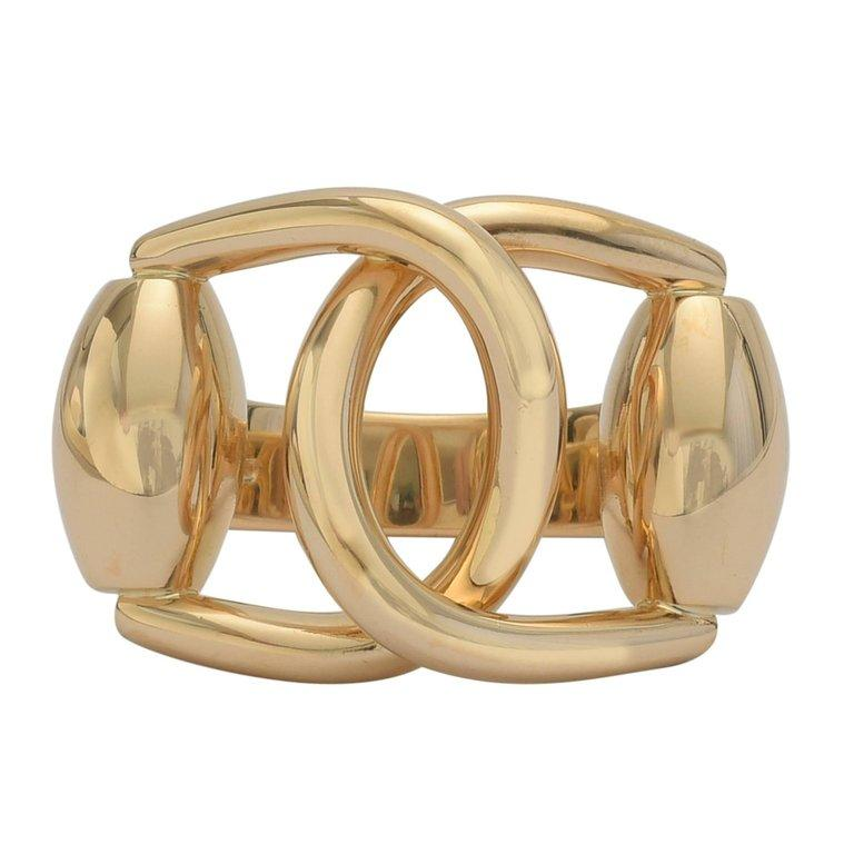 Women's Gucci Yellow Gold Equestrian Ring