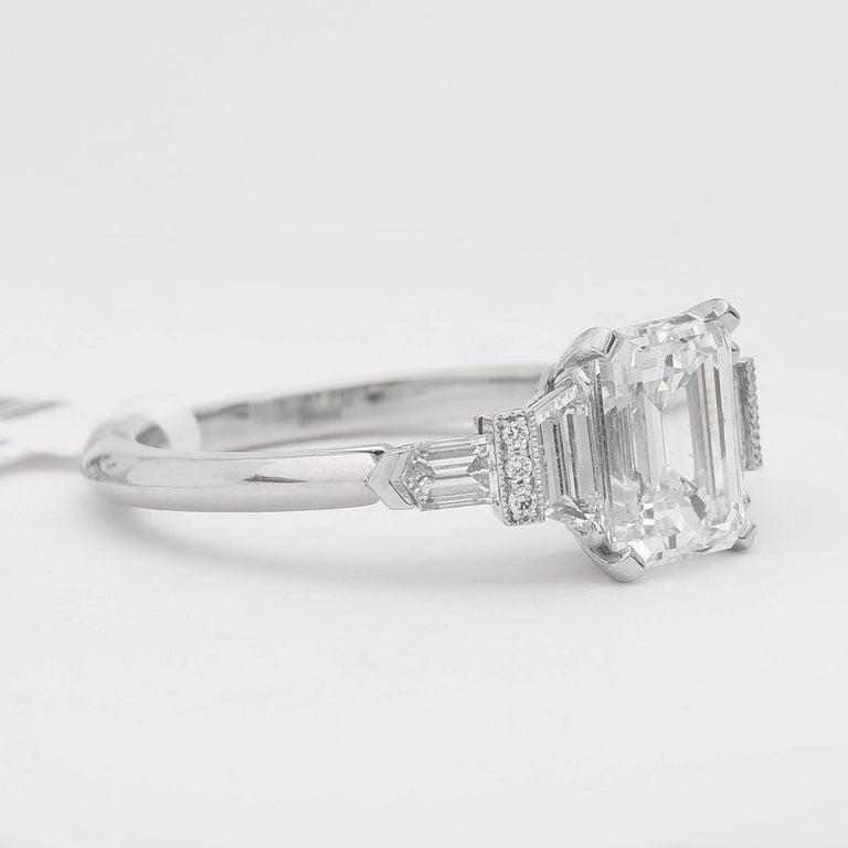 Art Deco Raymond Yard 1.61 Carat Emerald-Cut Diamond Ring For Sale