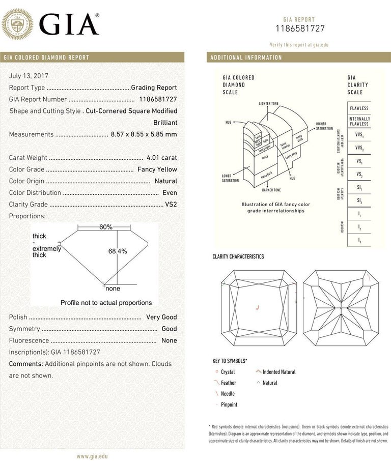 Radiant Cut Betteridge 4.01 Carat Fancy Yellow Diamond Ring For Sale