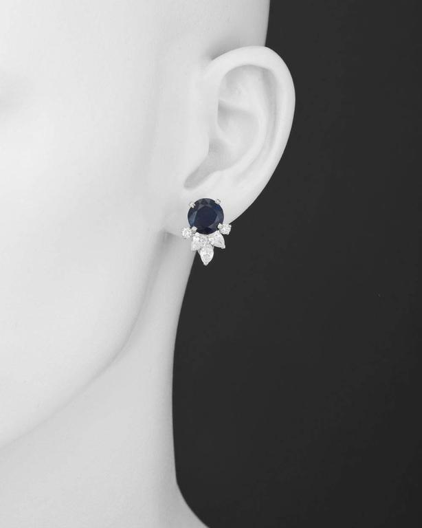 Women's Sapphire Diamond Platinum Cluster Earrings For Sale
