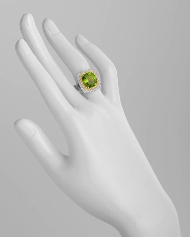 Beaudry Peridot Diamond Gold Platinum Cocktail Ring 2