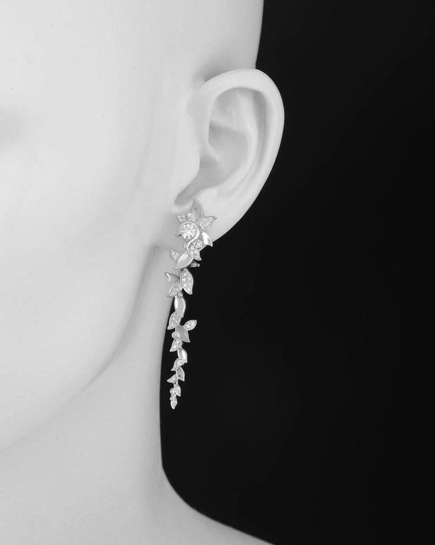 Laurel Leaf Drop Earrings In 18k White Gold With Pavé Diamonds The