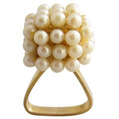 Geometric Scandinavian Modernist Pearl Gold Ring