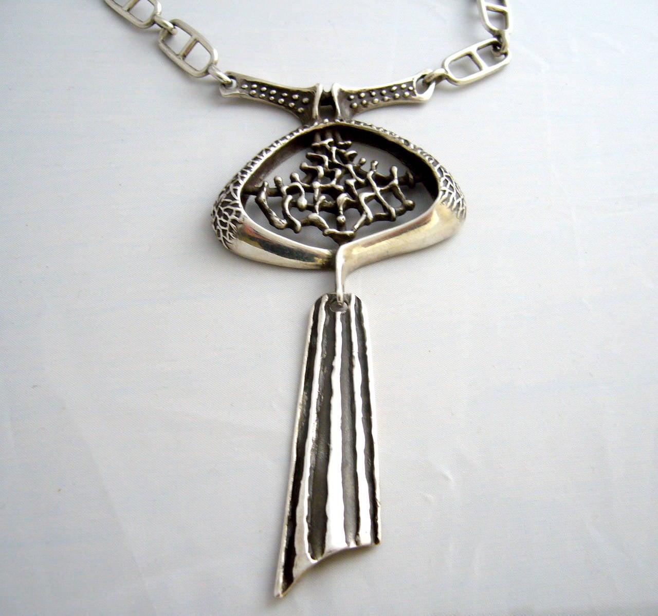 1970s Brutalist Sterling Silver Necklace at 1stdibs
