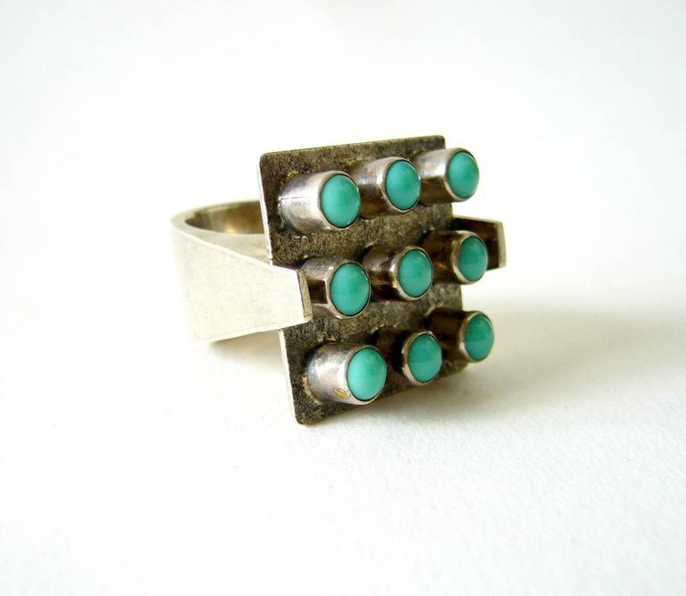 Women's Oswaldo Guayasamin Turquoise Silver Ecuadorian Modernist Statement Ring For Sale