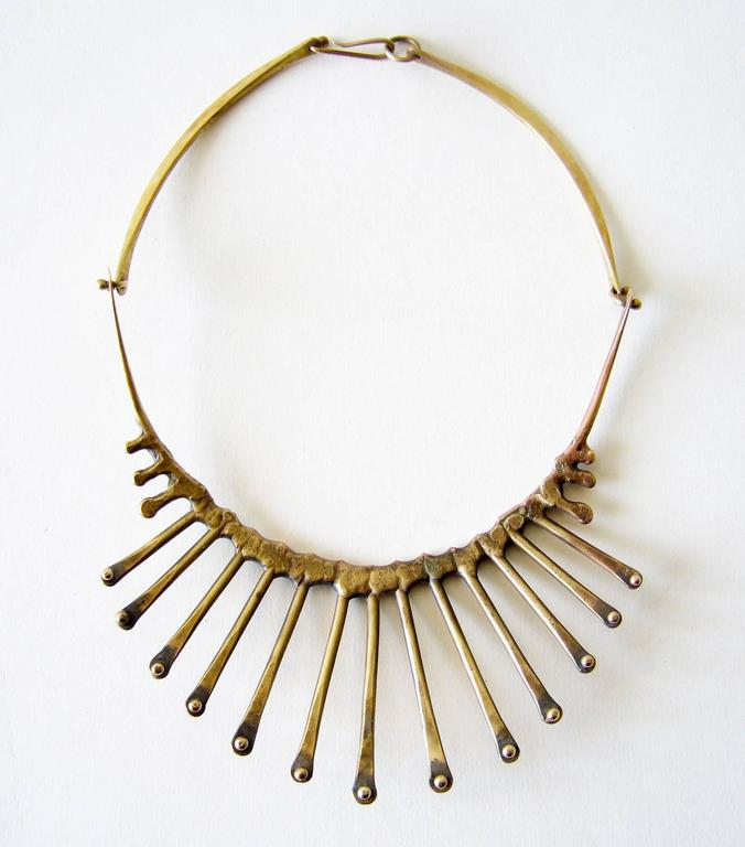 "Hand forged bronze studded spike necklace created by Jack Boyd of San Diego, California.  Necklace has a wearable neck length of 17.5"" and is unsigned.  In very good vintage condition."