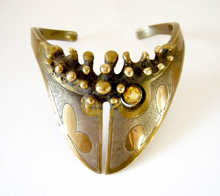 Etched bronze bracelet with faceted citrine accent created by Jack Boyd of San Diego, California.  Bracelet is made for a smaller wrist with a measurement of 7.5