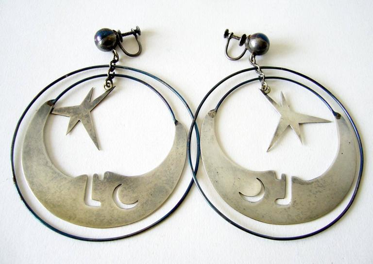 Modernist Los Castillo Mexican Sterling Silver Moon And Stars Mobile Earrings For Sale